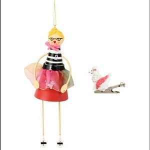 Betsey Johnson 50's Girl and Poodle Ornament